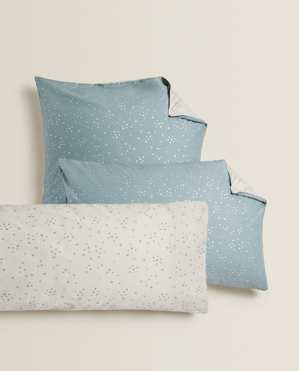 REVERSIBLE MINI STAR PRINT PILLOWCASE