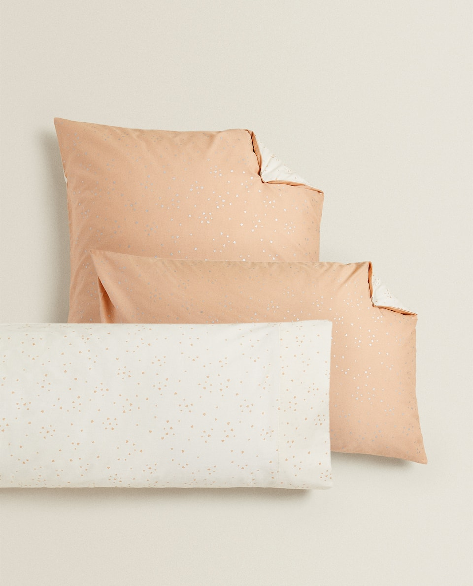 REVERSIBLE HEART PRINT PILLOWCASE