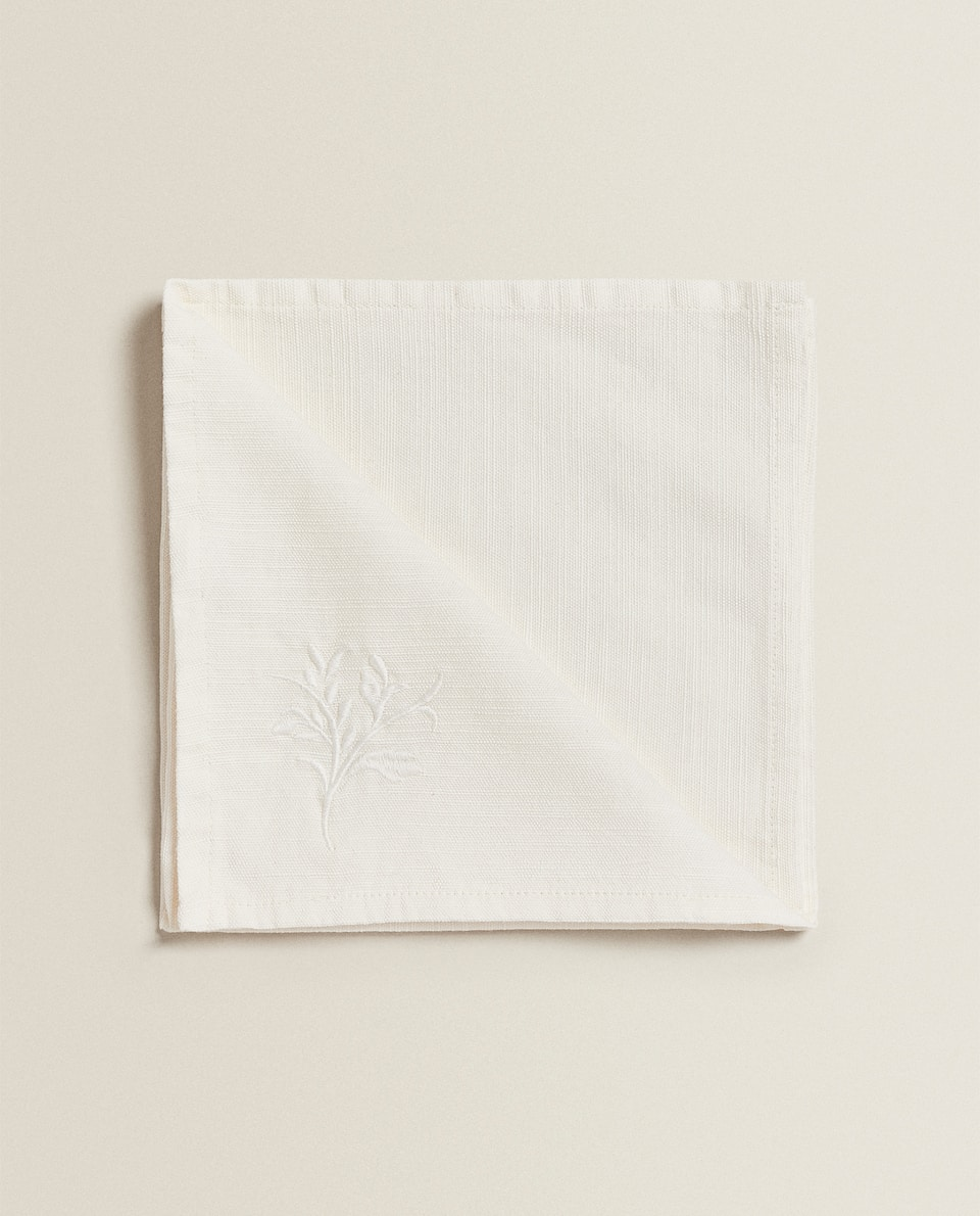 NAPKIN WITH EMBROIDERED BORDER (PACK OF 4)