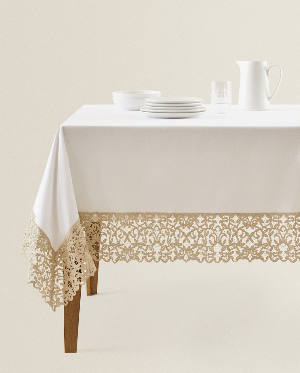 LACE TRIM COTTON TABLECLOTH