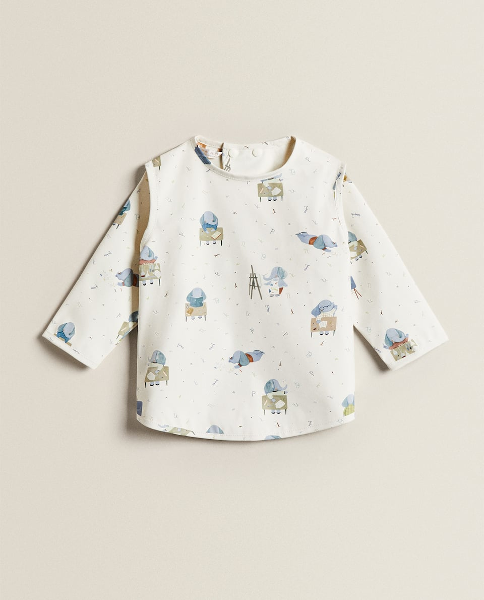 ELEPHANT DESIGN BIB WITH SLEEVES