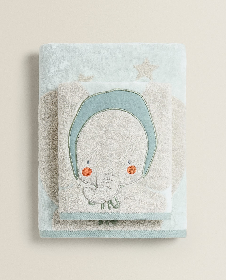 STAR AND ELEPHANT PRINT TOWEL