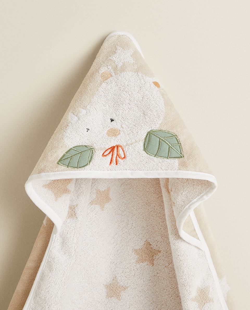 COTTON HOODED TOWEL WITH RHINOCEROS PRINT