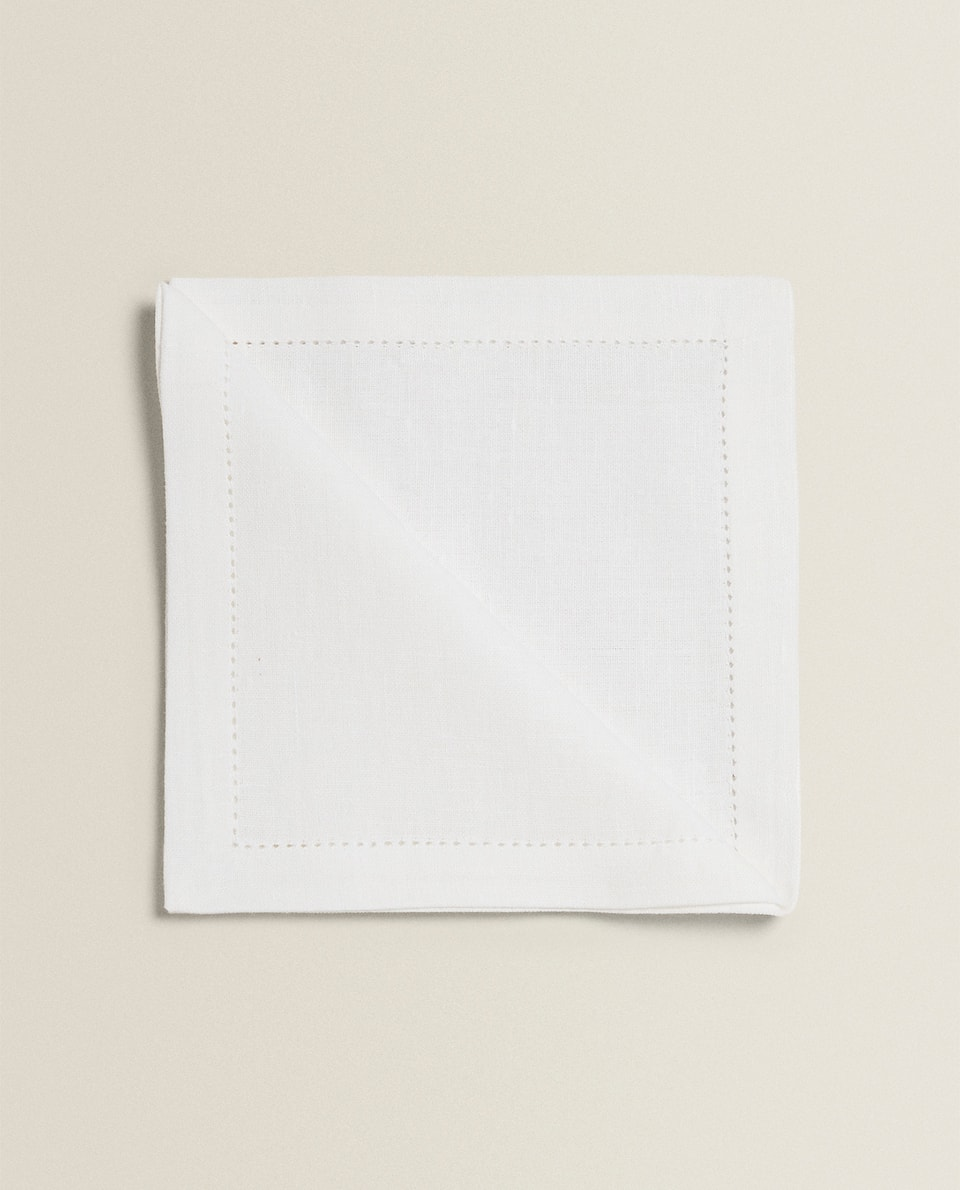 LINEN NAPKINS WITH HEMSTITCHING (PACK OF 4)