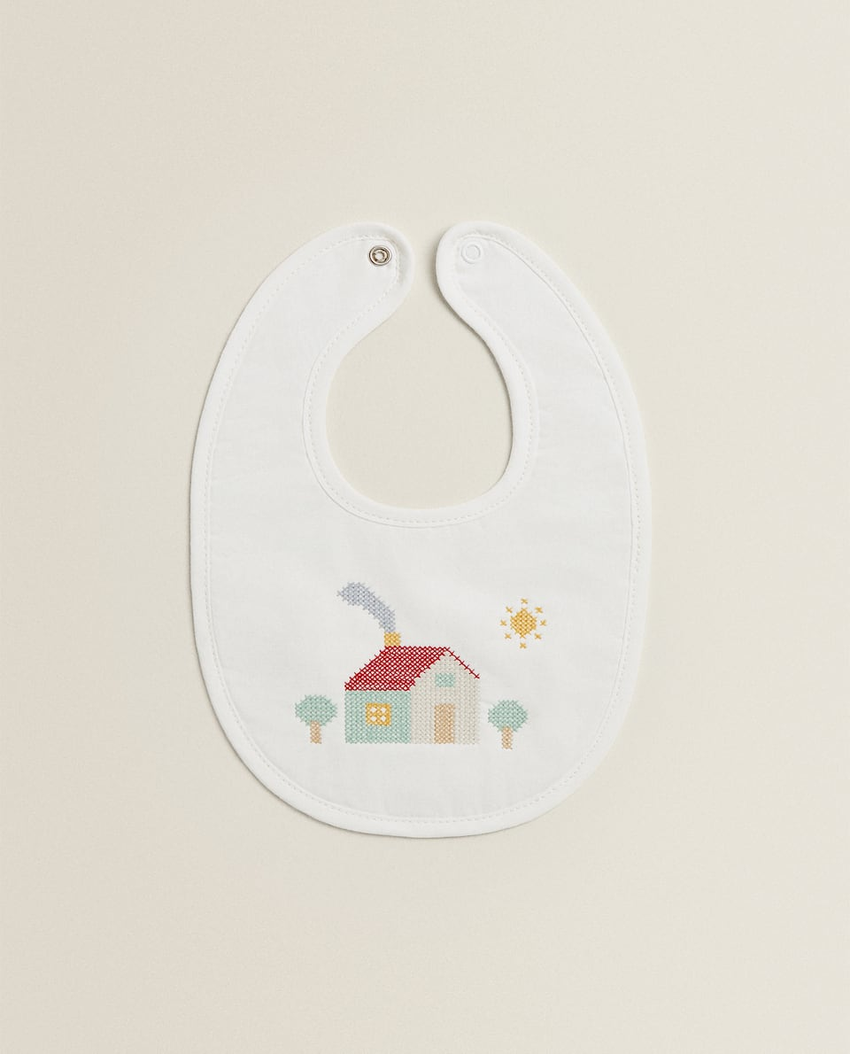EMBROIDERED HOUSE BIB
