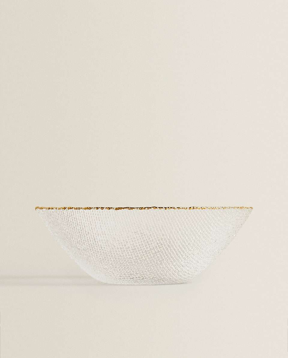 SALAD BOWL WITH RAISED GOLD RIM