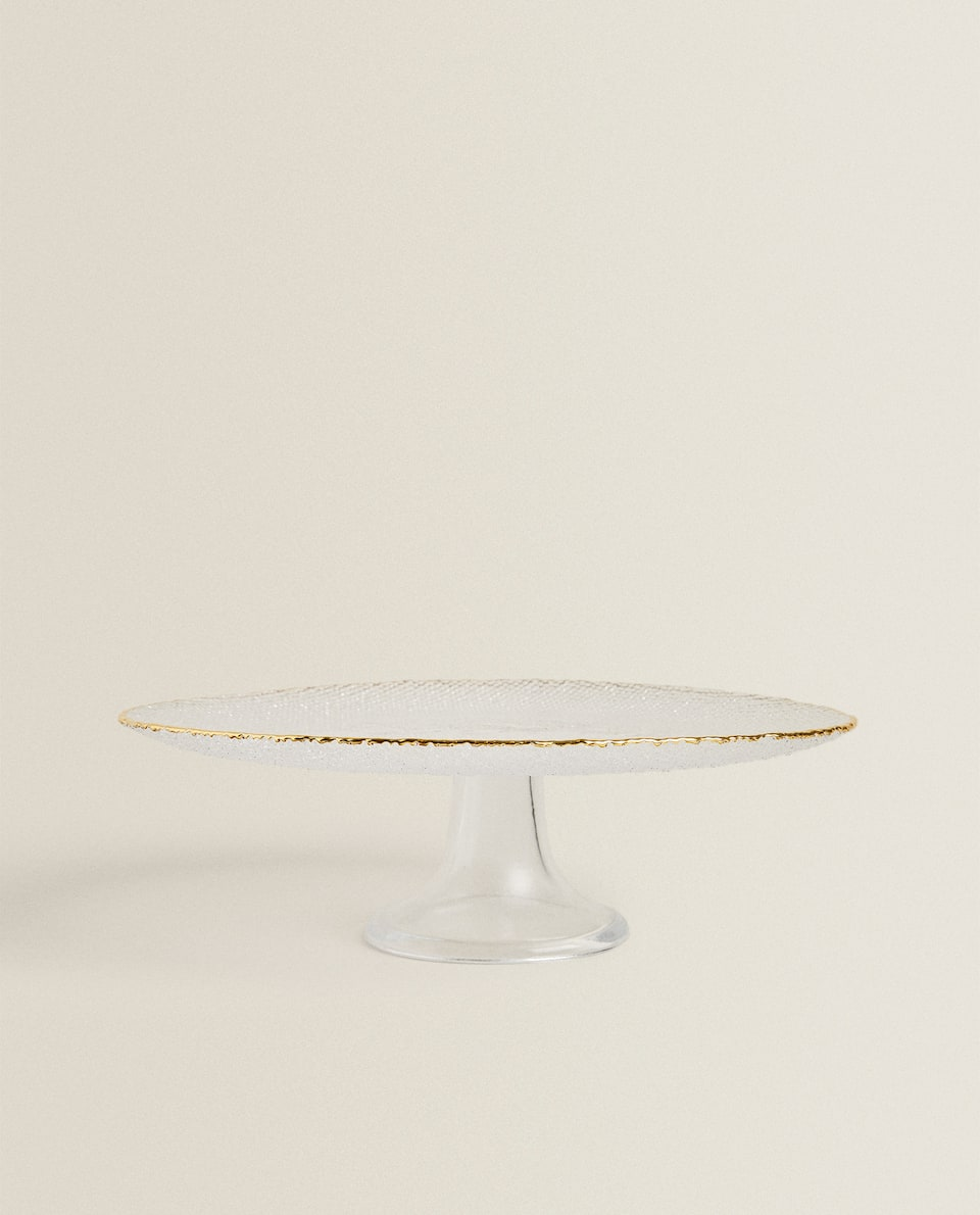CAKE STAND WITH RAISED GOLD RIM