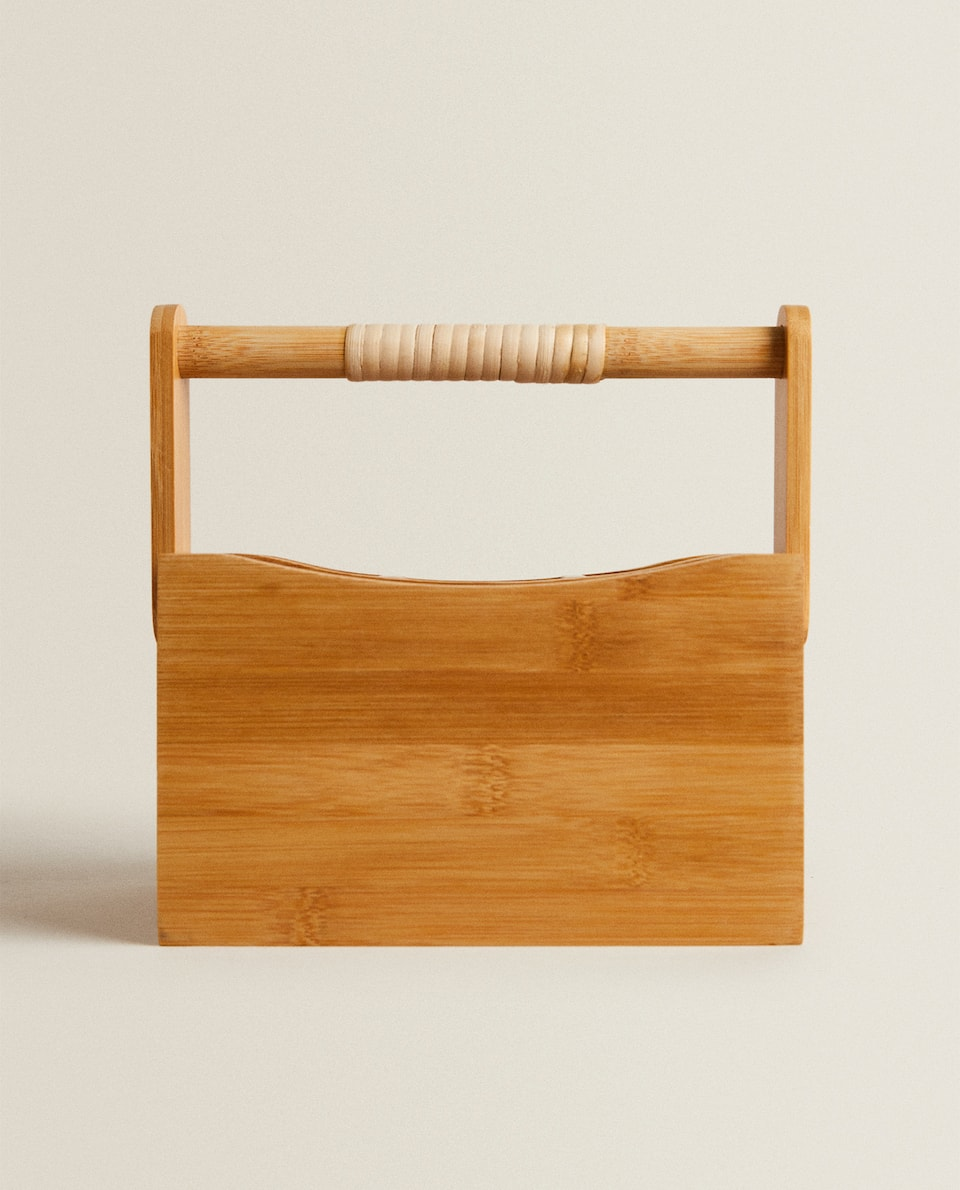 WOODEN CUTLERY TRAY WITH HANDLE