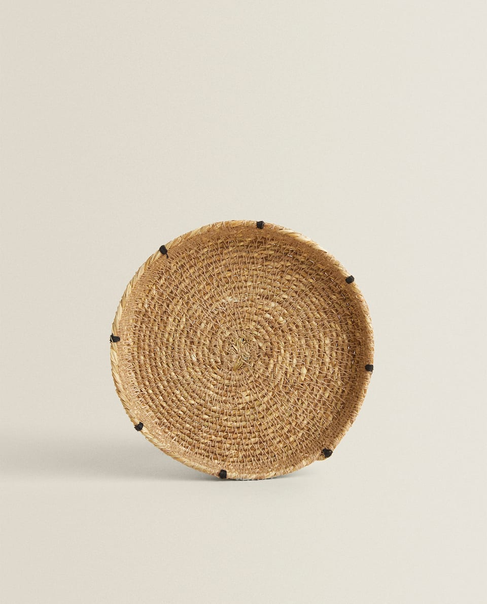 RAFFIA SAUCER WITH TOPSTITCHING