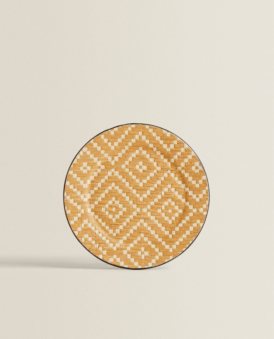 JUTE-EFFECT SIDE PLATE WITH DIAMOND DESIGN