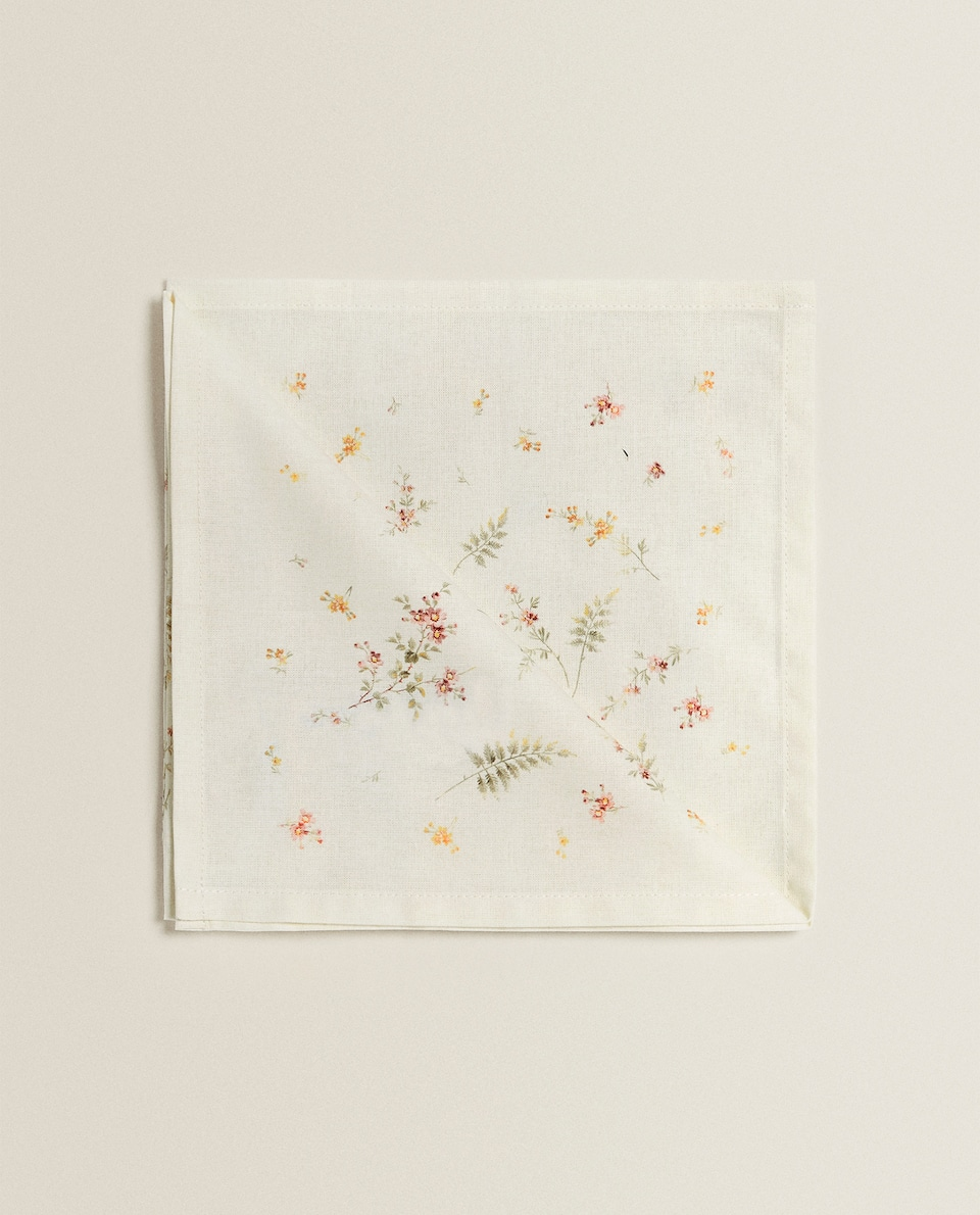 FLORAL AND FERN PRINT COTTON NAPKIN (PACK OF 2)