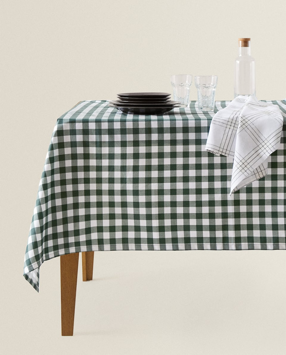 GINGHAM RESIN-COATED COTTON TABLECLOTH