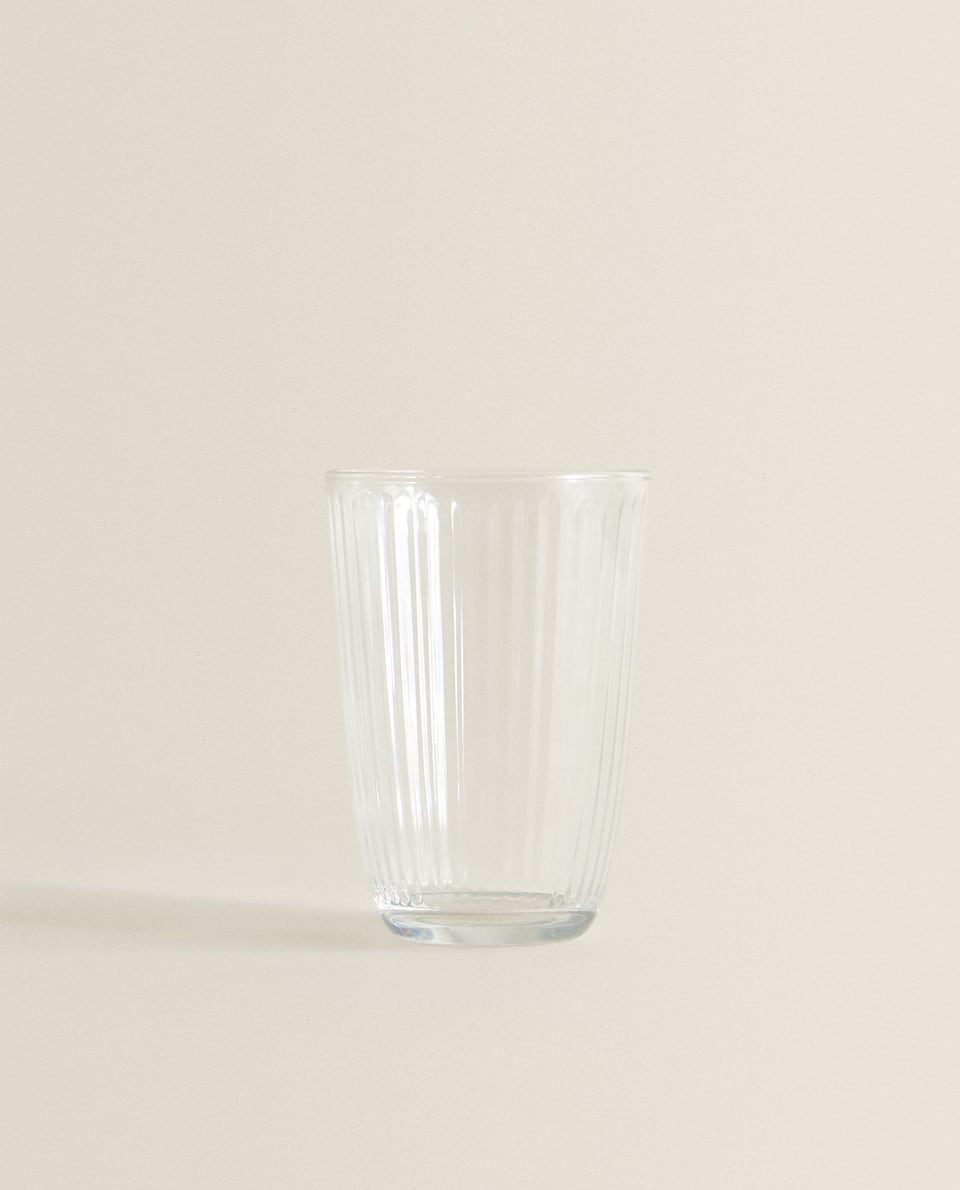 LINE-DESIGN GLASS SOFT DRINK TUMBLER