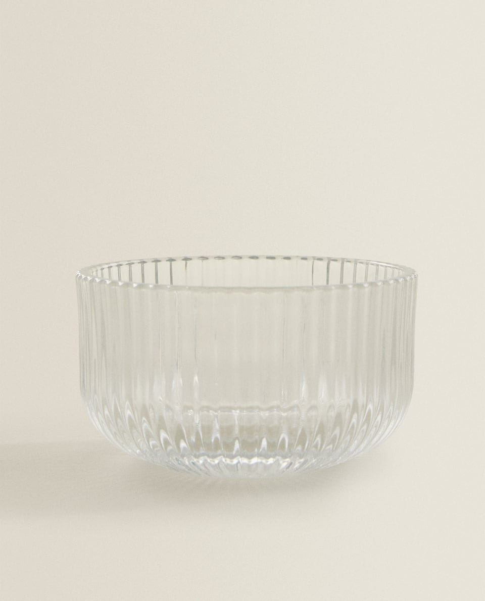 RIPPLED GLASS BOWL