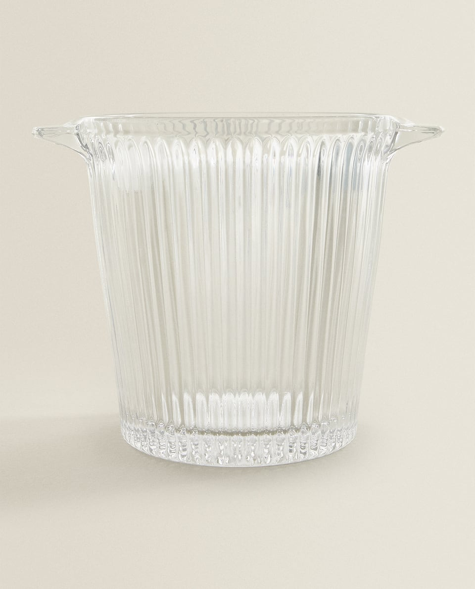 RIPPLED GLASS ICE BUCKET