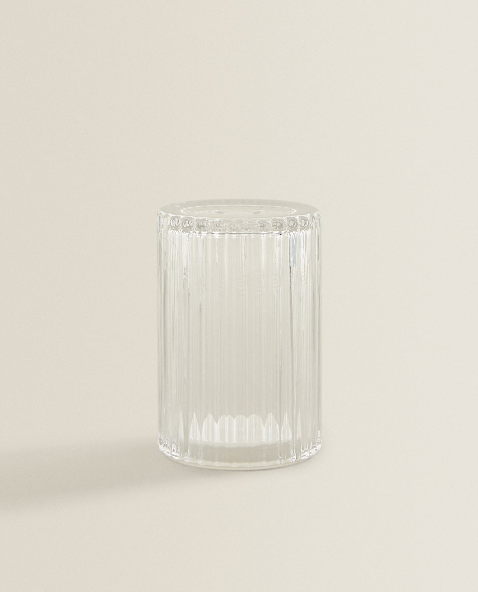 RIPPLED GLASS SALT SHAKER