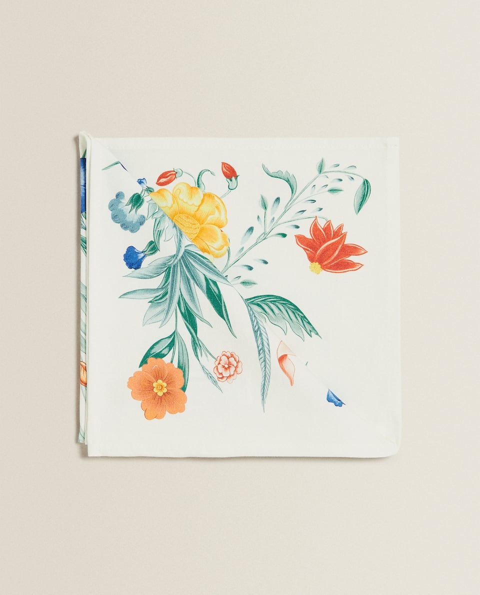 FLORAL PRINT COTTON NAPKIN (PACK OF 4)