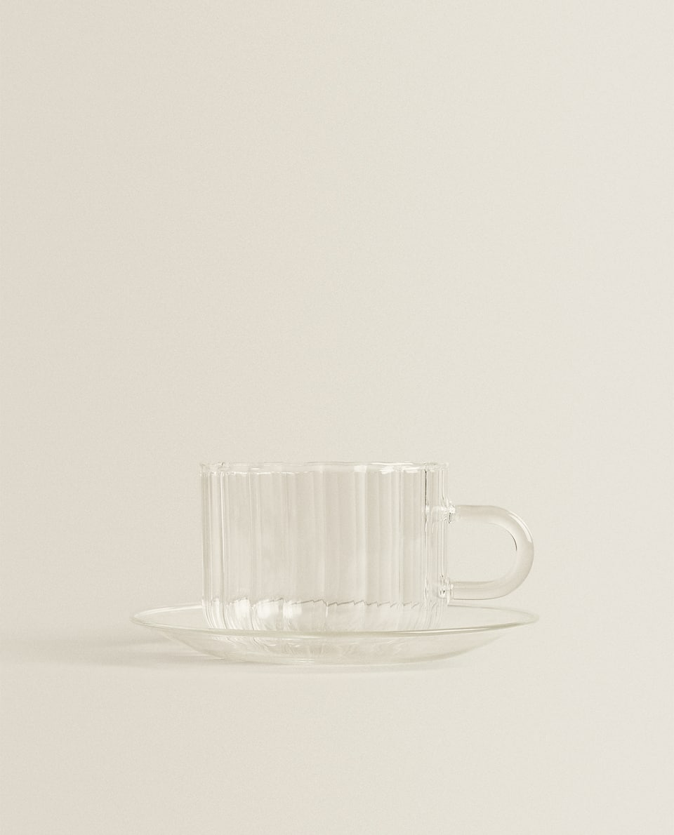 BOROSILICATE GLASS COFFEE CUP AND SAUCER
