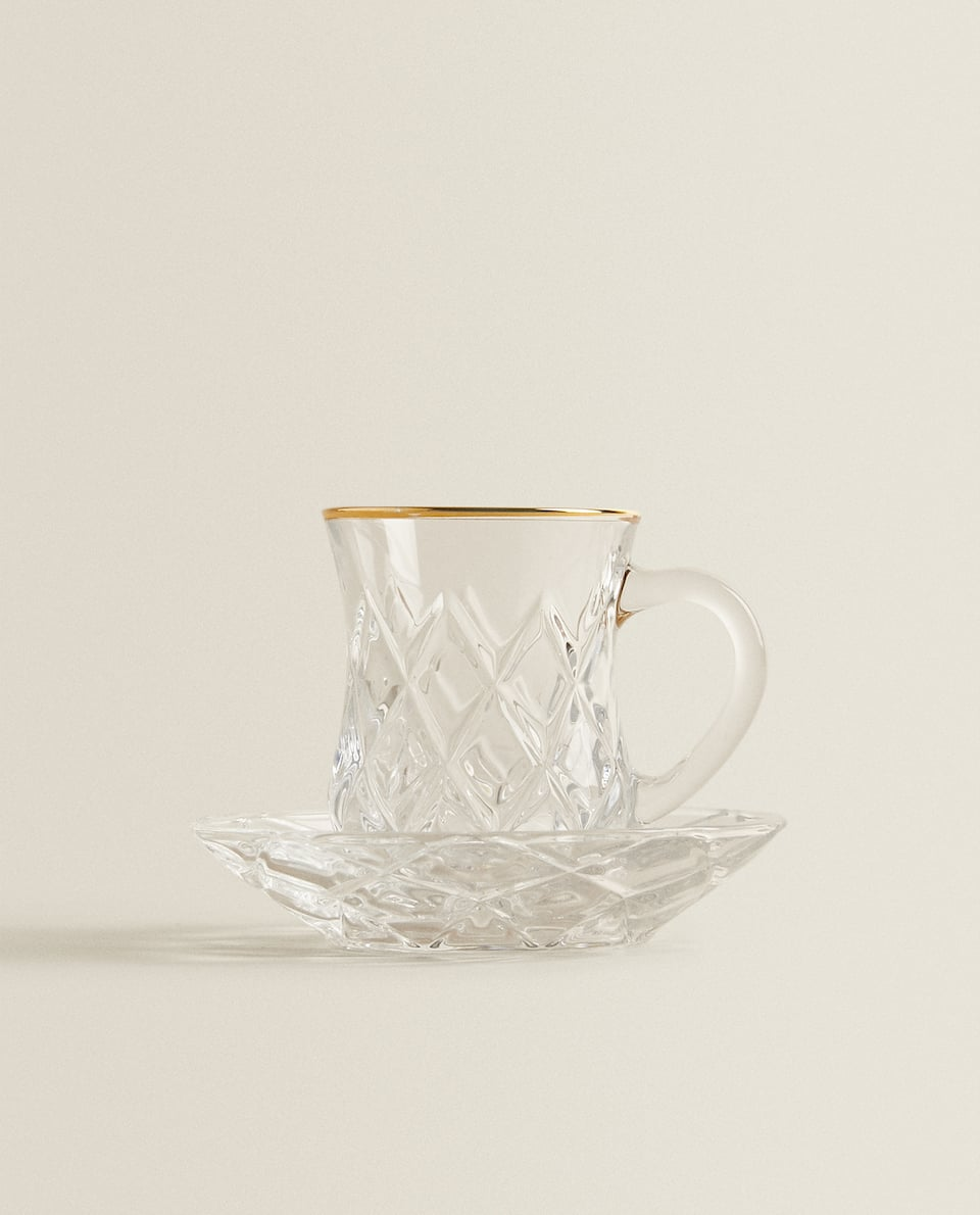 TEXTURED TEACUP AND SAUCER
