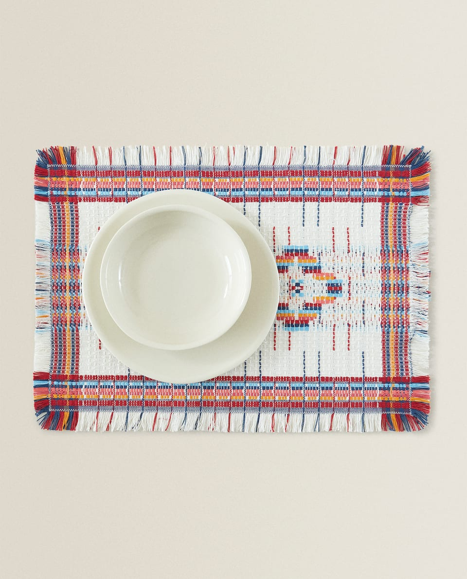 MULTICOLOURED RUSTIC PLACEMAT (PACK OF 2)
