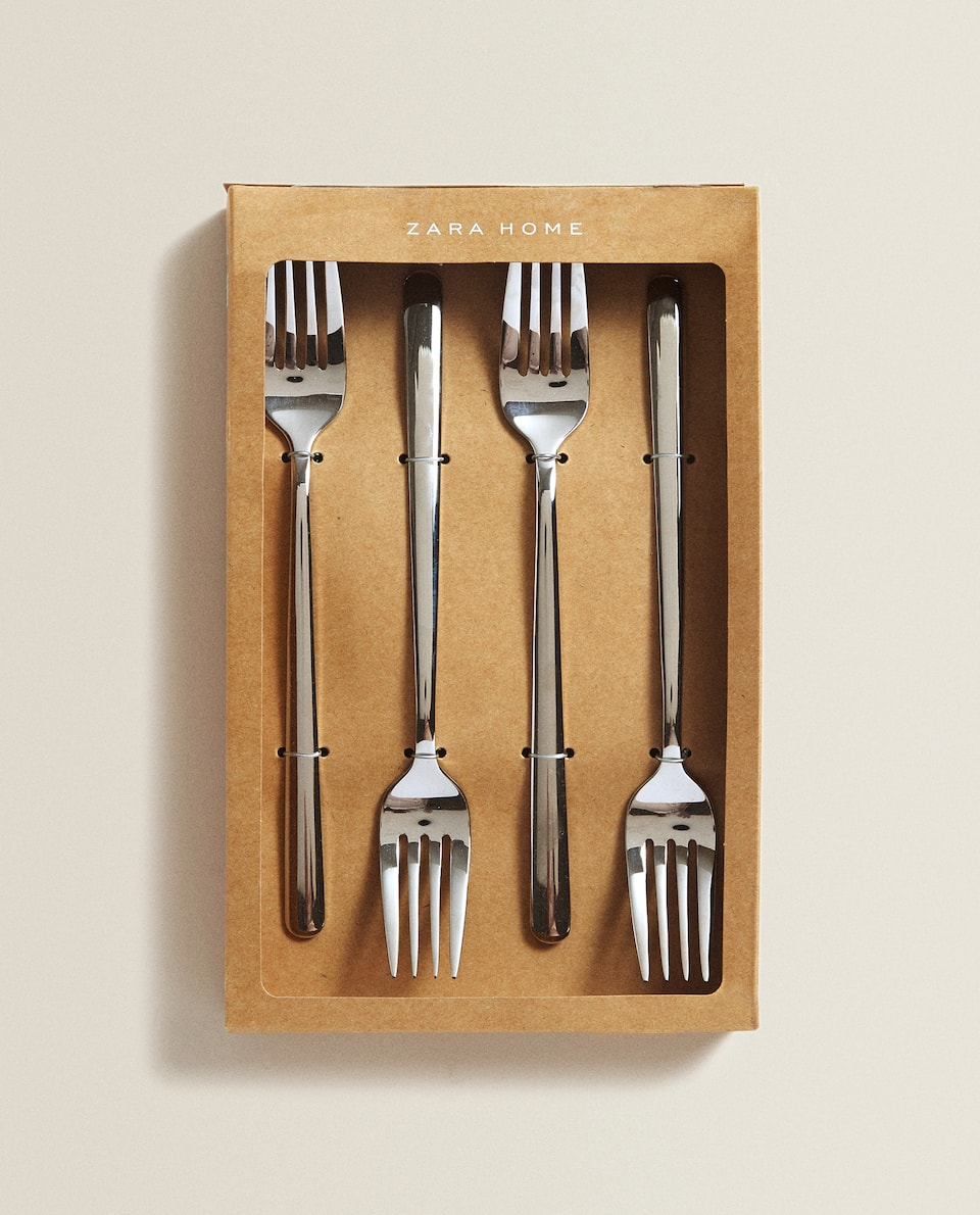 4-PIECE SILVER-COLOURED FORK SET