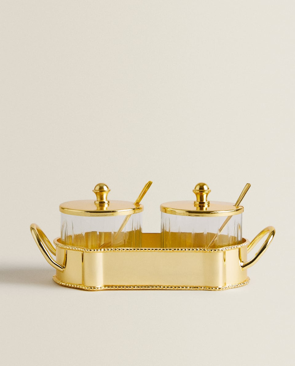 SHINY GOLD SUGAR BOWL (SET OF 2)