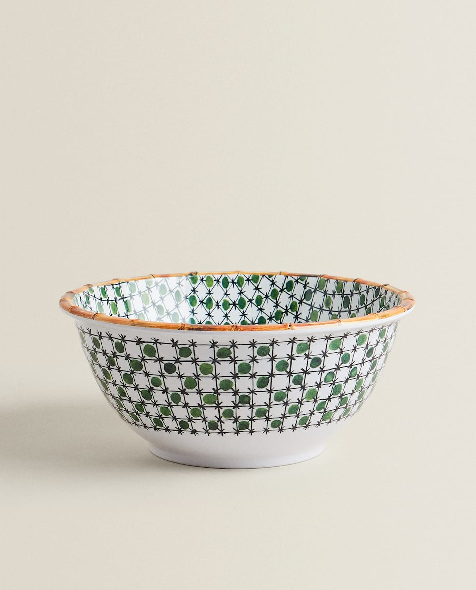 LARGE MELAMINE BOWL WITH BAMBOO TRIM
