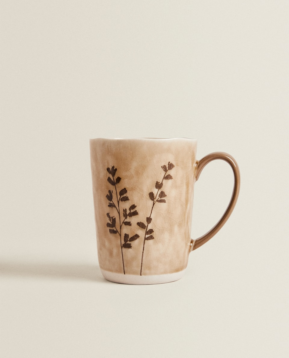 STONEWARE MUG WITH LEAF PRINT