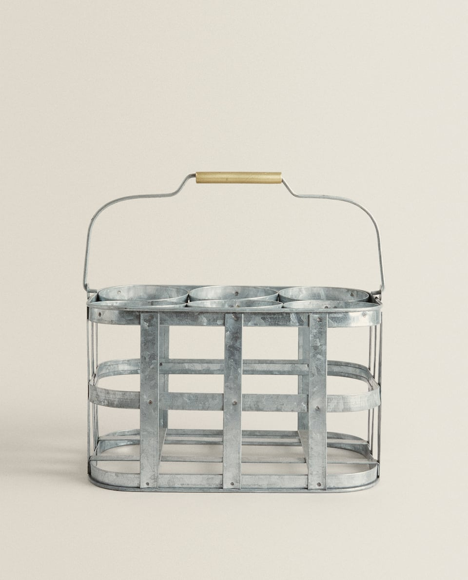 METAL BOTTLE STAND BASKET