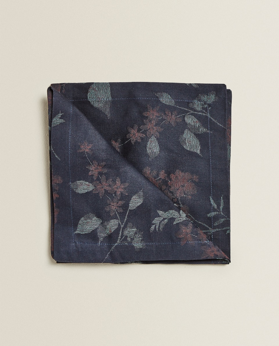 SERVIETTE DE TABLE JACQUARD FLEURS (LOT DE 2)