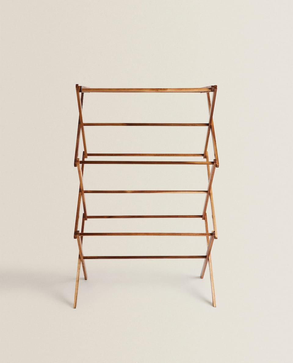 VERTICAL FOLDING WOODEN CLOTHES HORSE