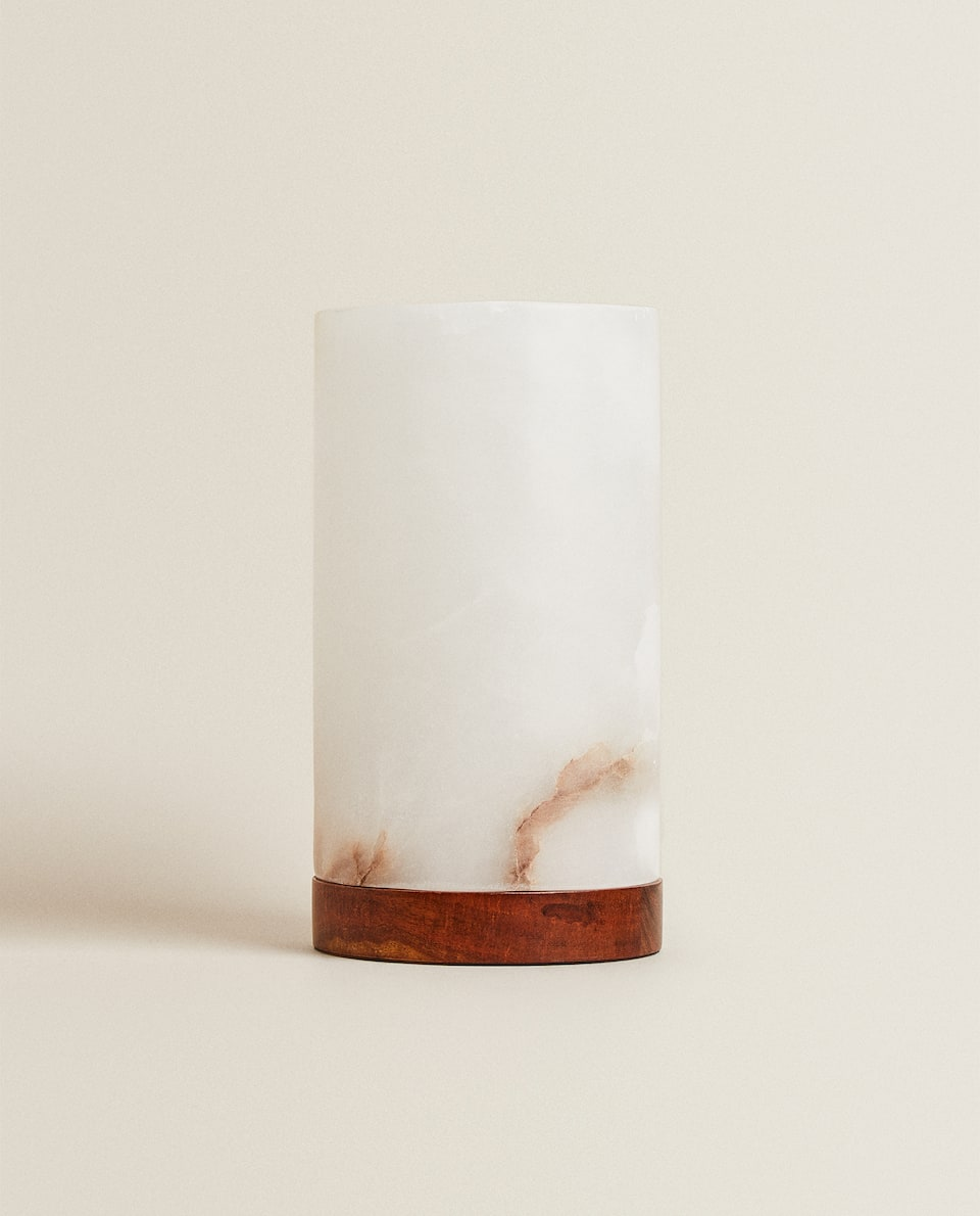 ALABASTER TABLE LAMP WITH WOODEN BASE
