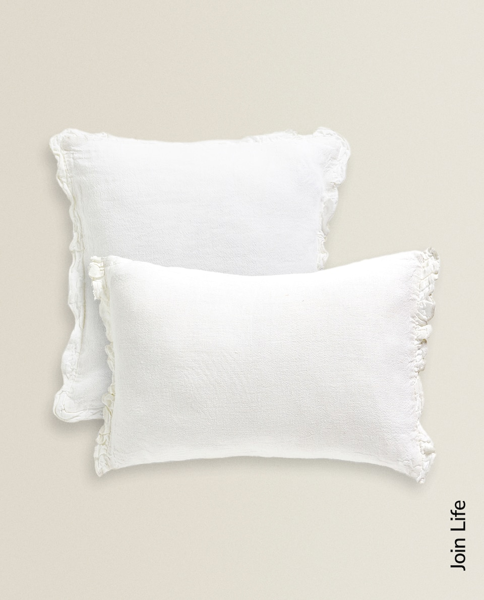 LINEN CUSHION COVER WITH RUFFLES