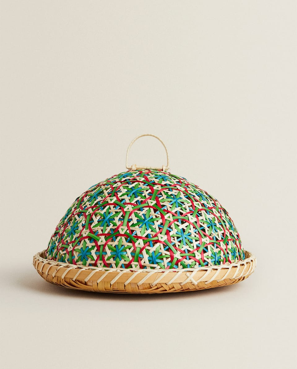 WOVEN BAMBOO SERVING DISH WITH LID