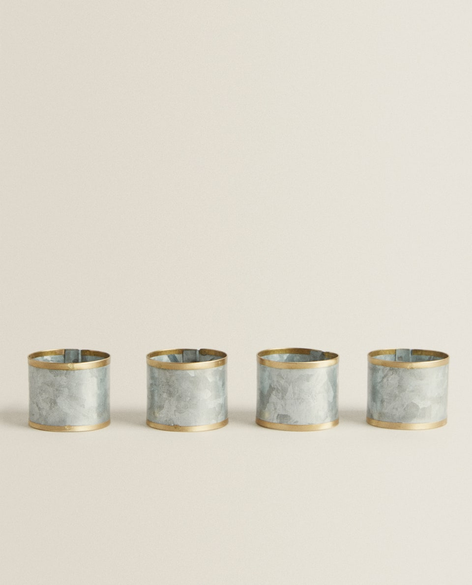 GALVANIZED METAL NAPKIN RINGS (PACK OF 4)
