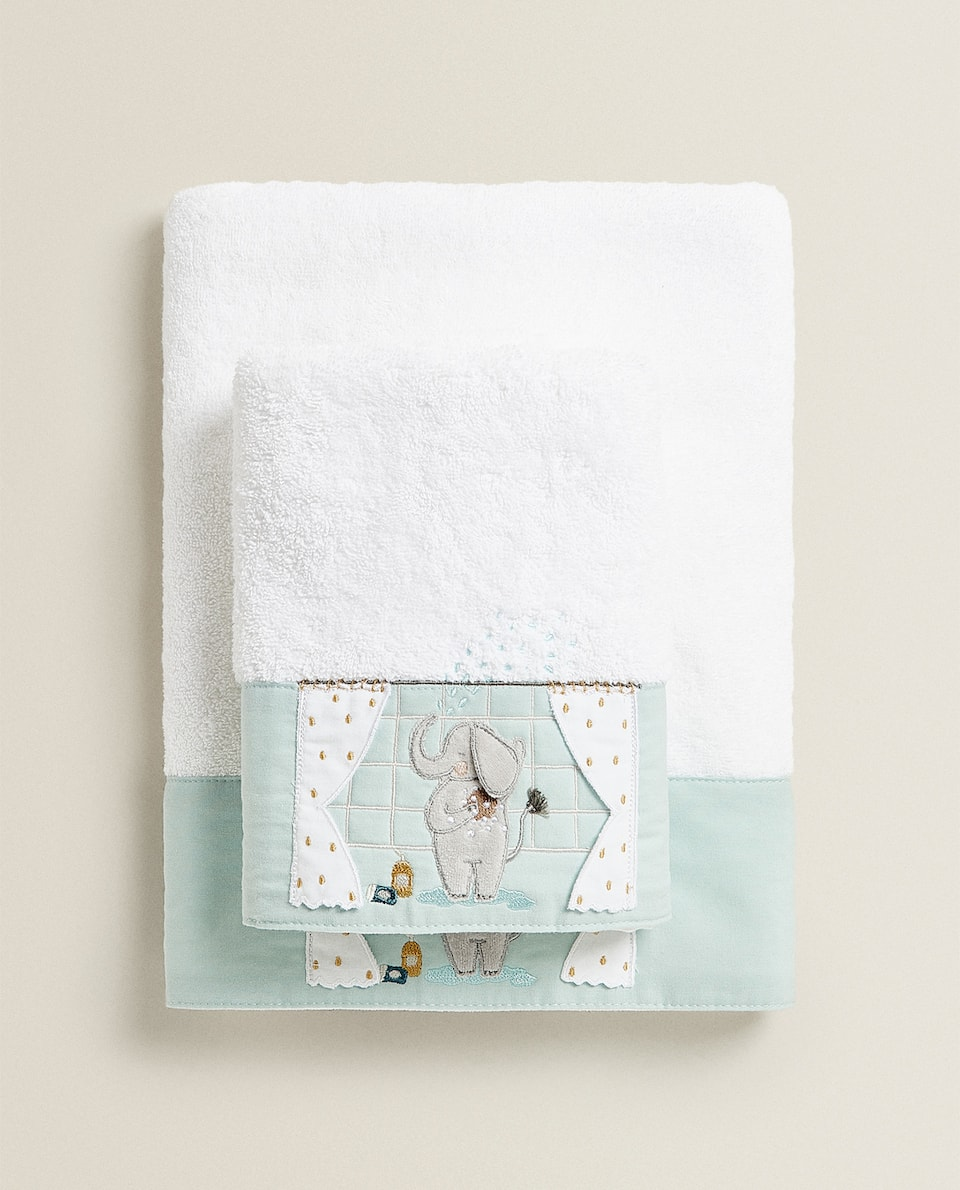 TOWEL WITH ELEPHANT EMBROIDERY