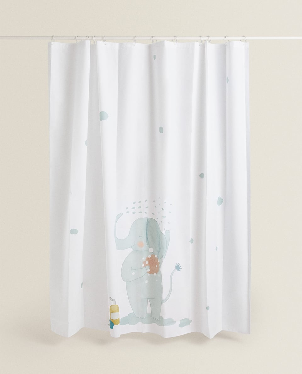 SHOWER CURTAIN WITH ELEPHANT PRINT