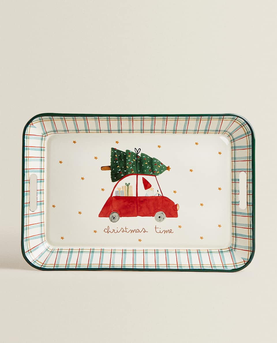 ENAMELED TRAY WITH CHRISTMAS SCENE