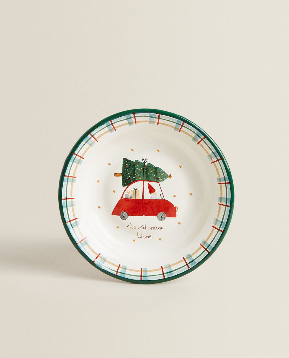 ENAMELLED PLATE WITH CHRISTMAS SCENE