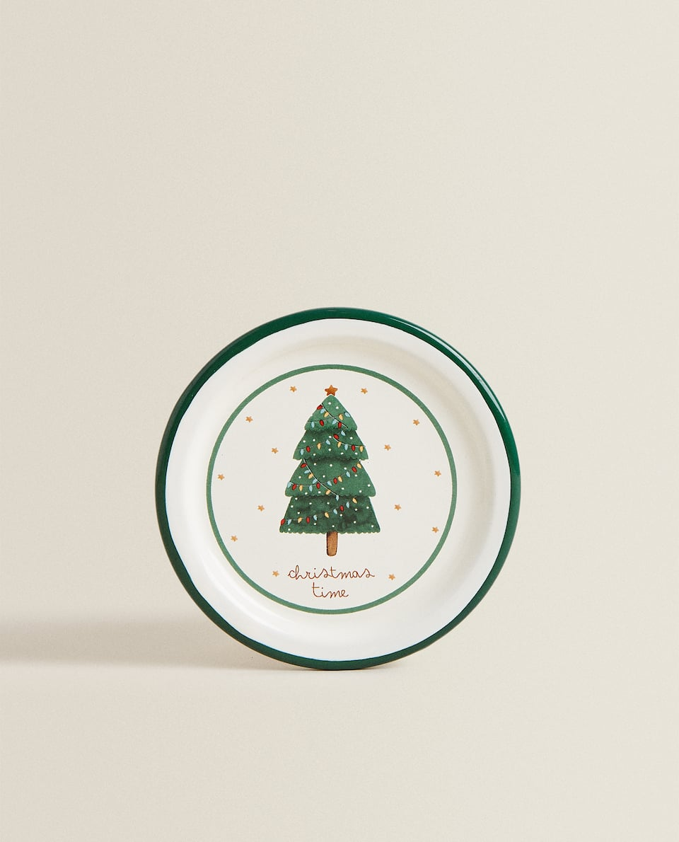 ENAMELED PLATE WITH CHRISTMAS SCENE