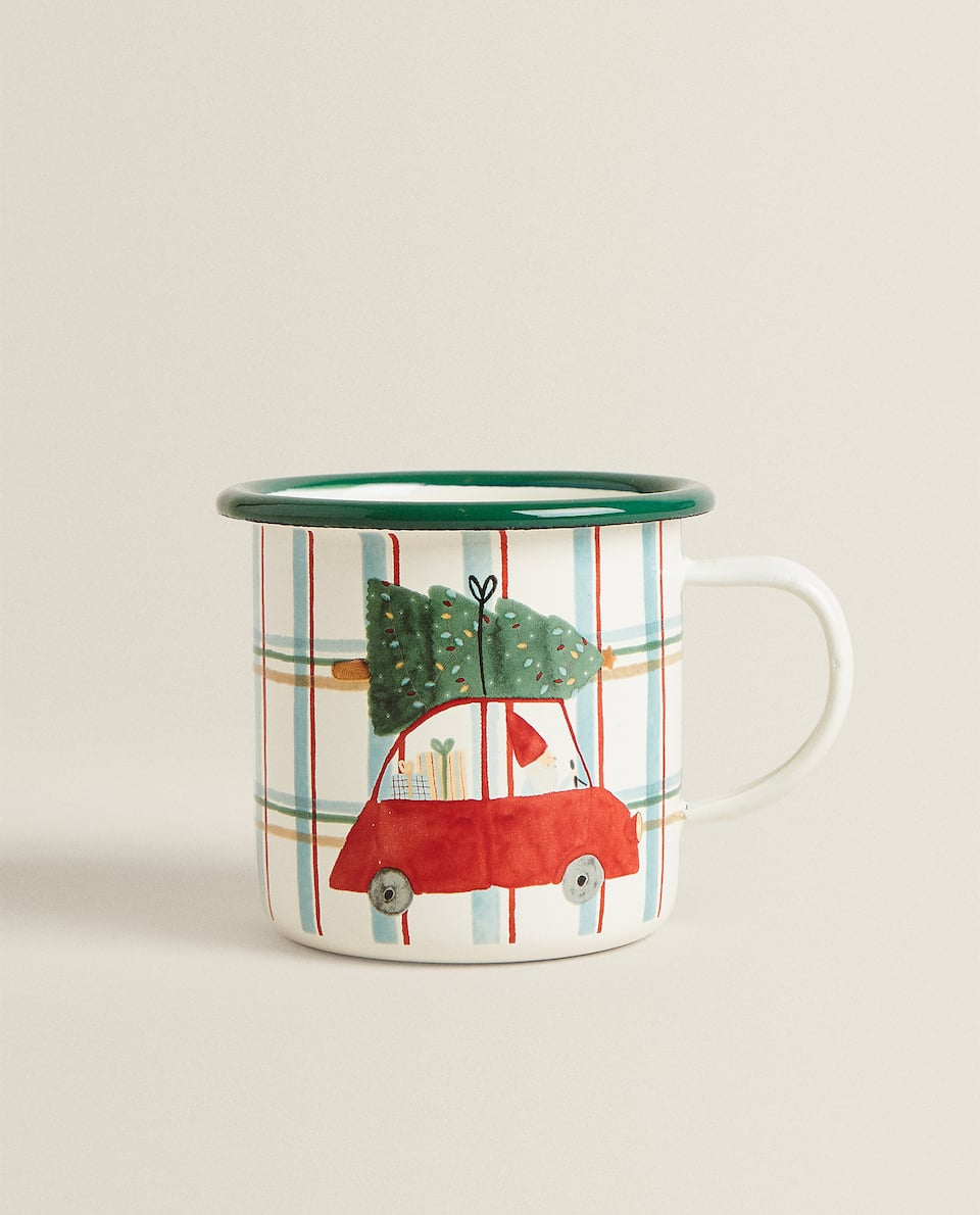 ENAMELLED MUG WITH CHRISTMAS SCENE