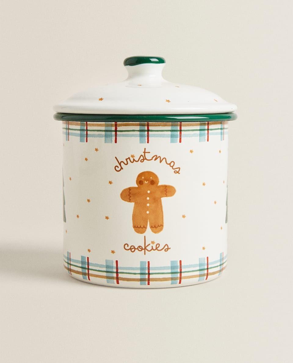 BISCUIT JAR WITH CHRISTMAS SCENE