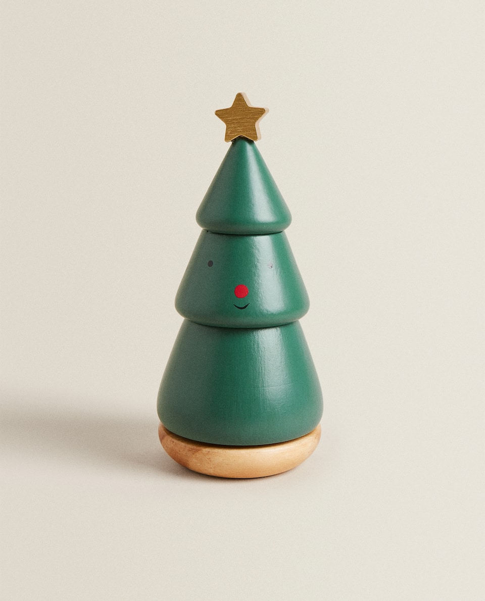 WOODEN MUSICAL TREE CHRISTMAS DECORATION