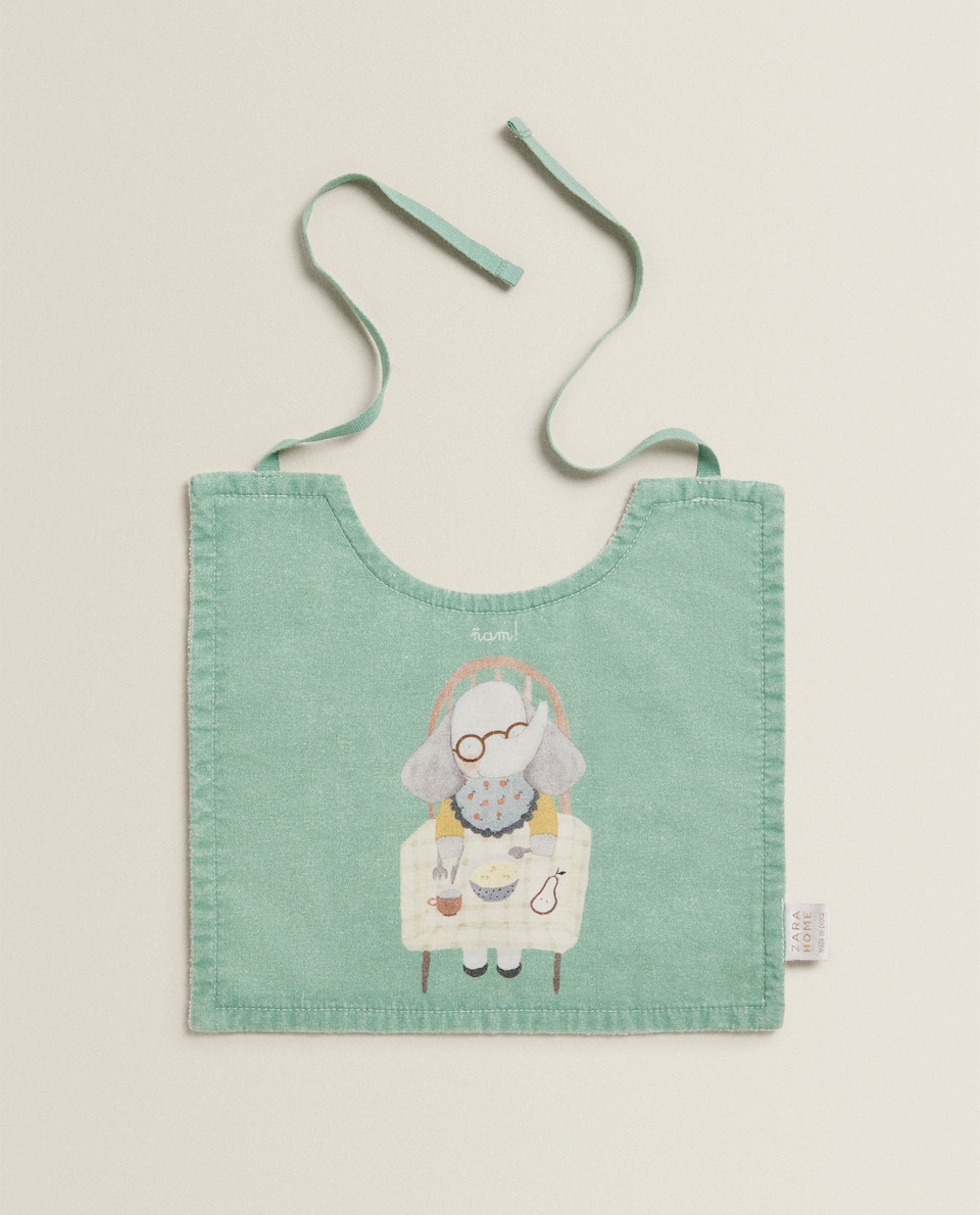 COTTON BIB WITH ELEPHANT PRINT