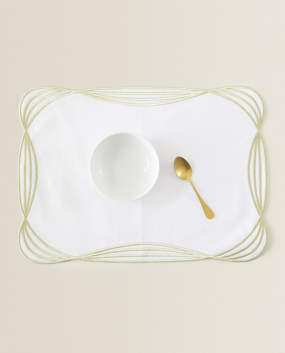 GOLD EMBROIDERED COTTON PLACEMAT