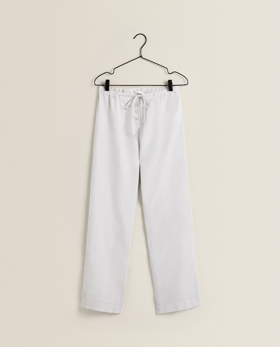 LINEN BOTTOMS WITH HEMSTITCHING