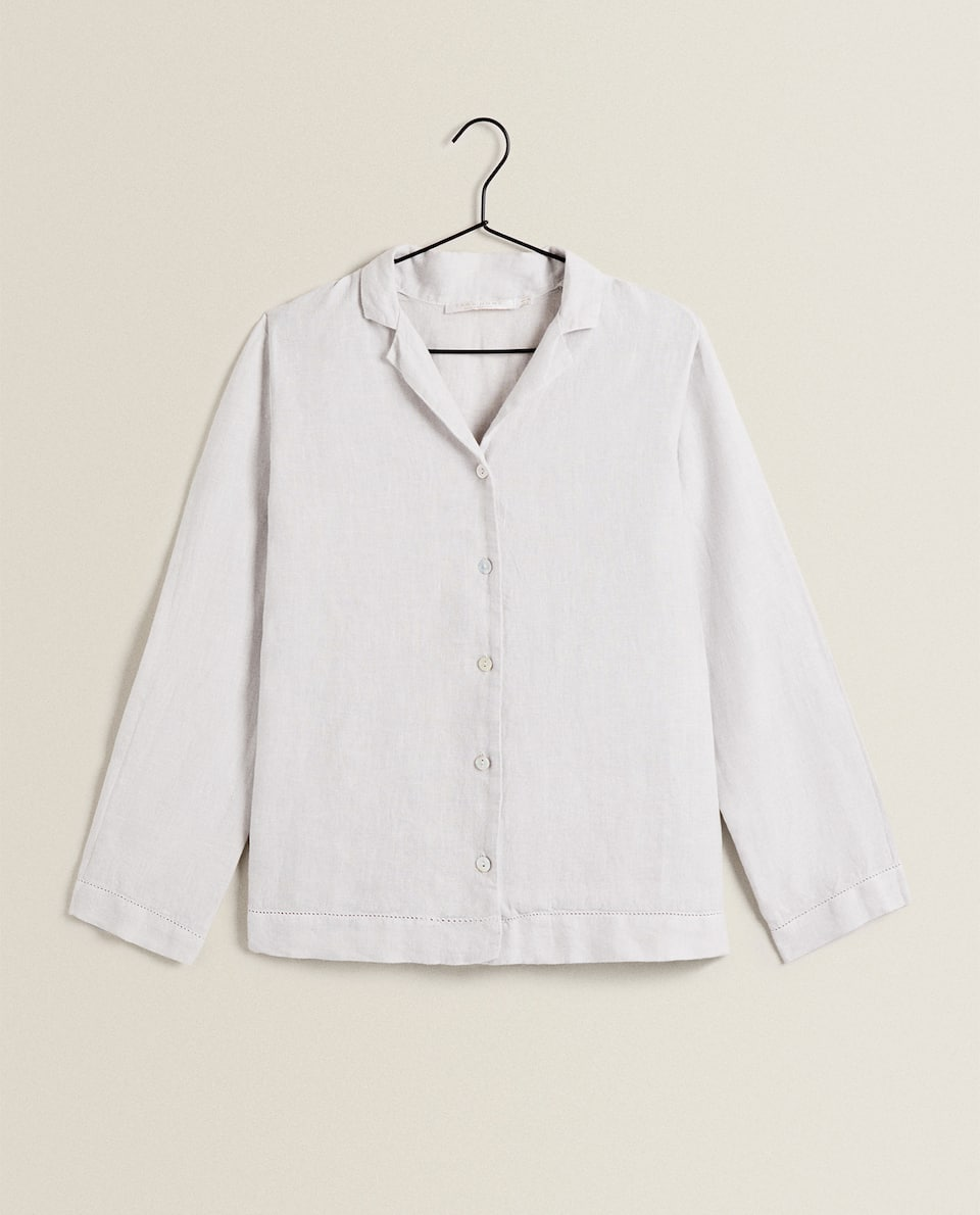 LINEN SHIRT WITH HEMSTITCHING