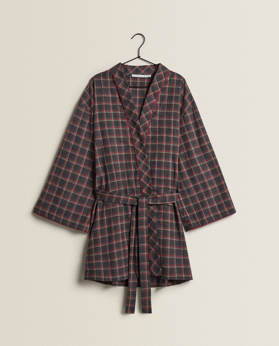 COTTON CHECK BATHROBE
