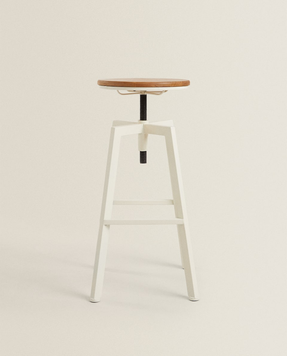 WOODEN AND METAL SWIVEL STOOL