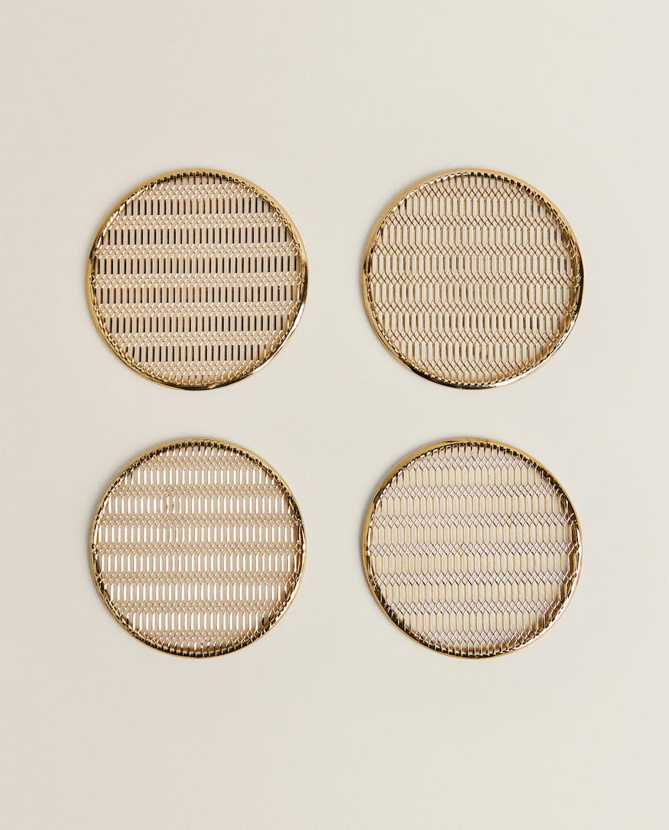 GOLD HONEYCOMB MESH COASTER (PACK OF 4)